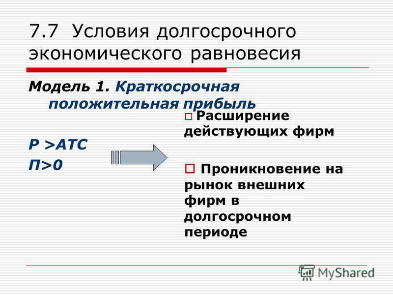 7.7 Условия долгосрочного экономического равновесия Модель 1. Краткосрочная положительная прибыль Р >ATC П>0 Расширение действующих фирм Проникновение на рынок внешних фирм в долгосрочном периоде
