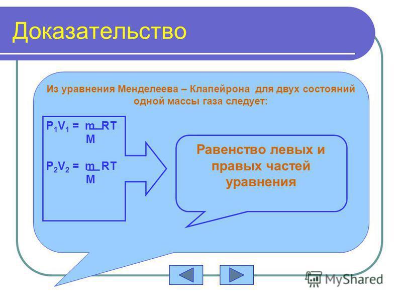 Доказательство Из уравнения Менделеева – Клапейрона для двух состояний одной массы газа следует: P 1 V 1 = m RT M P 2 V 2 = m RT M Равенство левых и правых частей уравнения