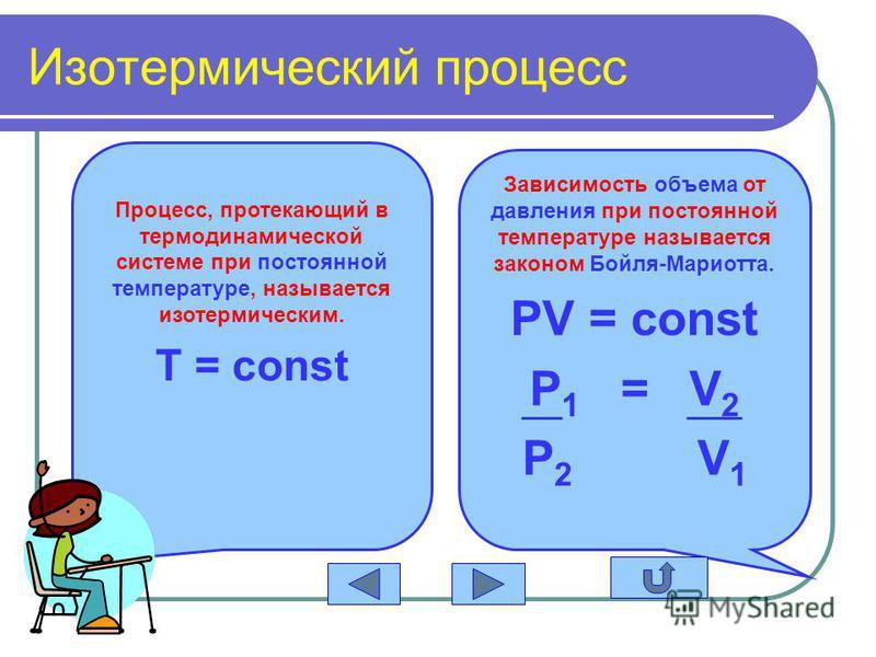 Изотермический процесс Процесс, протекающий в термодинамической системе при постоянной температуре, называется изотермическим. T = const Зависимость объема от давления при постоянной температуре называется законом Бойля-Мариотта. PV = const P 1 = V 2