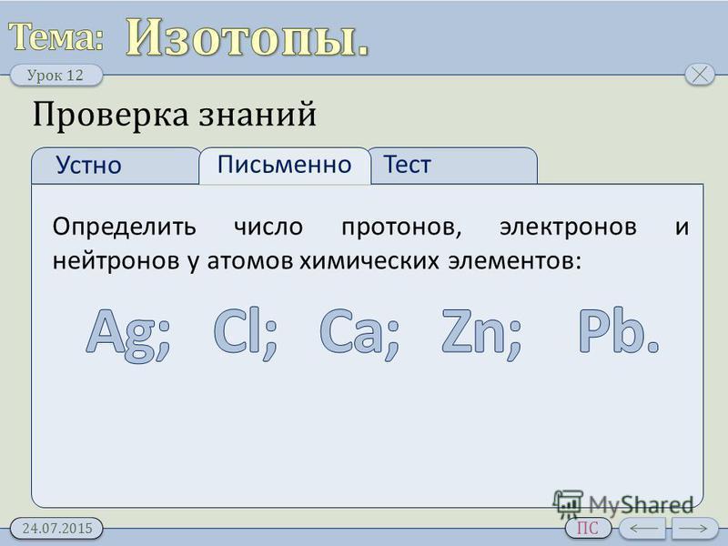 Урок 12 24.07.2015 ПС Проверка знаний Устно Тест Письменно Определить число протонов, электронов и нейтронов у атомов химических элементов: