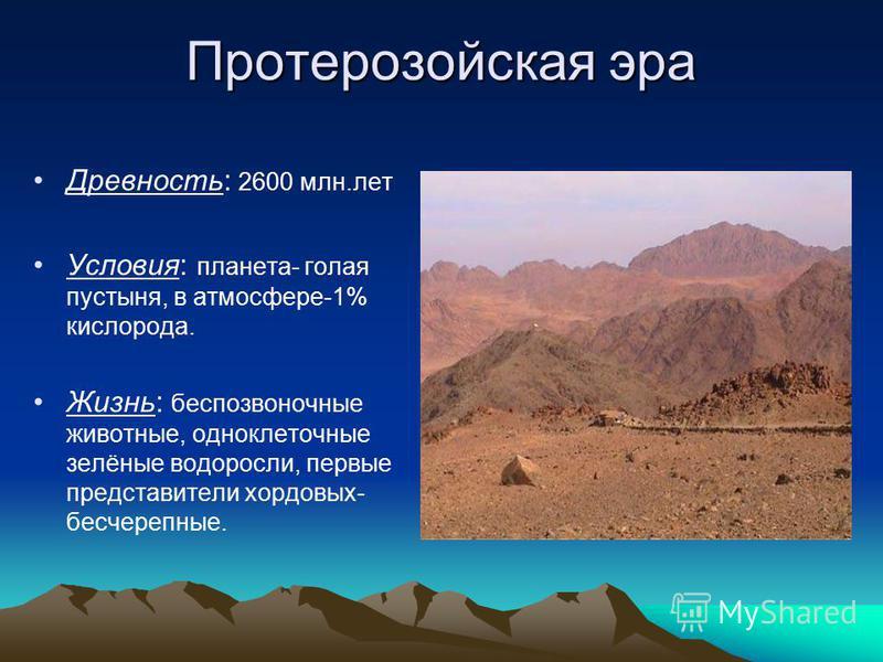 Протерозойская эра Древность: 2600 млн.лет Условия: планета- голая пустыня, в атмосфере-1% кислорода. Жизнь: беспозвоночные животные, одноклеточные зелёные водоросли, первые представители хордовых- бесчерепные.