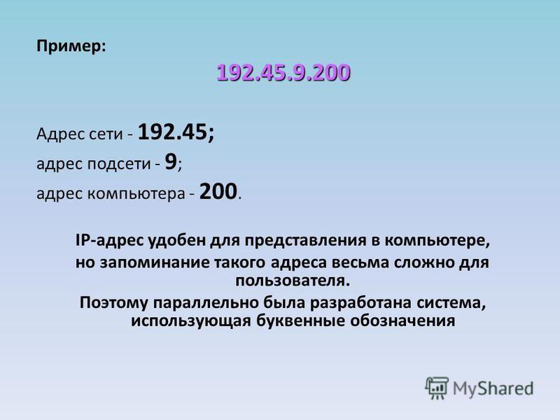 Пример:192.45.9.200 Адрес сети - 192.45; адрес подсети - 9 ; адрес компьютера - 200. IP-адрес удобен для представления в компьютере, но запоминание такого адреса весьма сложно для пользователя. Поэтому параллельно была разработана система, использующ