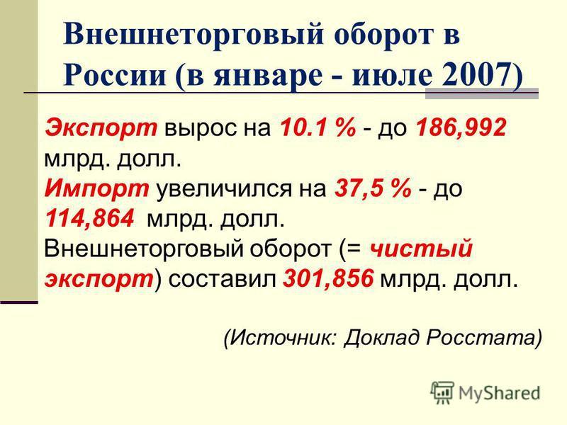 Внешнеторговый оборот в России ( в январе - июле 2007 ) Экспорт вырос на 10.1 % - до 186,992 млрд. долл. Импорт увеличился на 37,5 % - до 114,864 млрд. долл. Внешнеторговый оборот (= чистый экспорт) составил 301,856 млрд. долл. (Источник: Доклад Росс