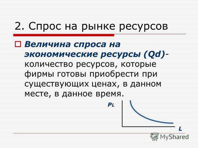 2. Спрос на рынке ресурсов Величина спроса на экономические ресурсы (Qd)- количество ресурсов, которые фирмы готовы приобрести при существующих ценах, в данном месте, в данное время. PLPL L