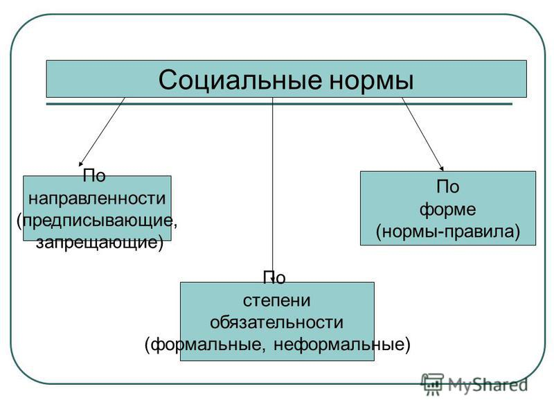 Социальные нормы По направленности (предписывающие, запрещающие) По степени обязательности (формальные, неформальные) По форме (нормы-правила)