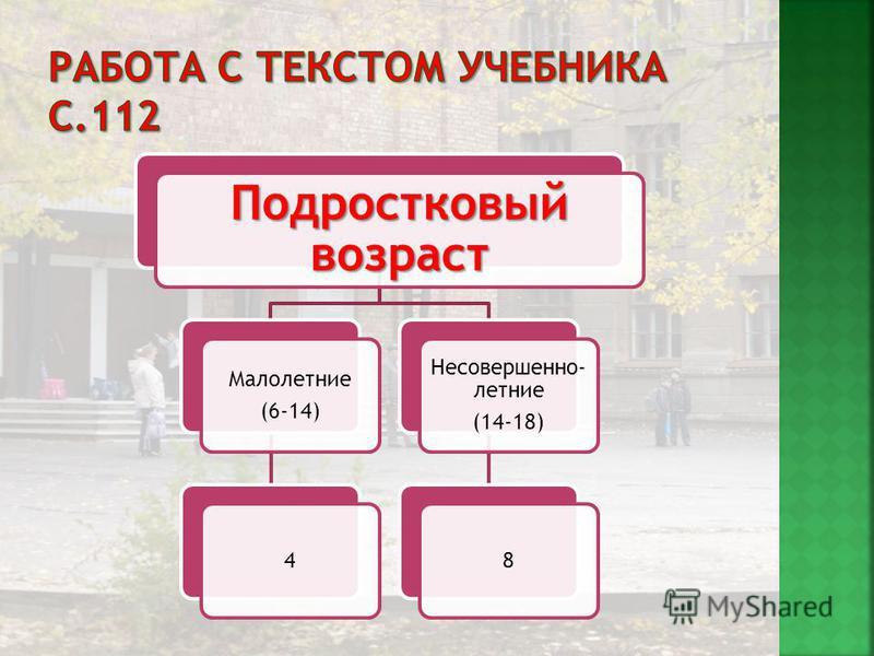 Подростковый возраст Малолетние (6-14) 4 Несовершенно- летние (14-18) 8
