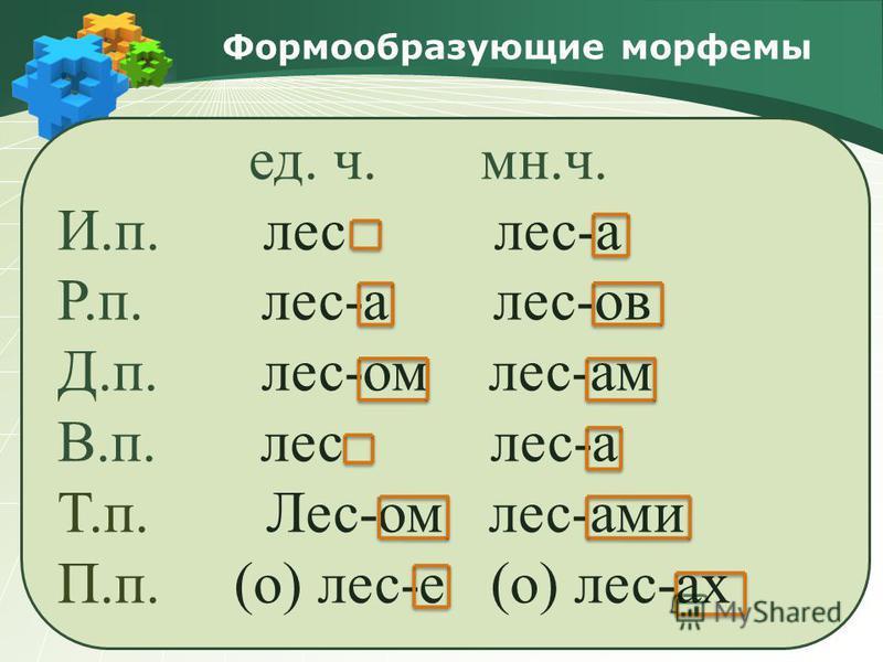 Формообразующие морфемы ед. ч. мн.ч. И.п. лес лес-а Р.п. лес-а лес-ов Д.п. лес-ом лес-ам В.п. лес лес-а Т.п. Лес-ом лес-ами П.п. (о) лес-е (о) лес-ах