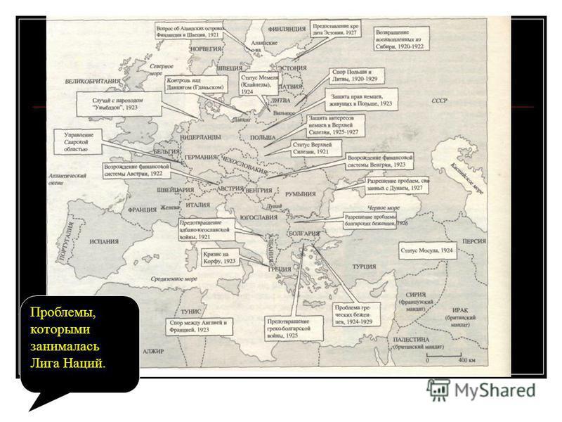 Проблемы, которыми занималась Лига Наций.