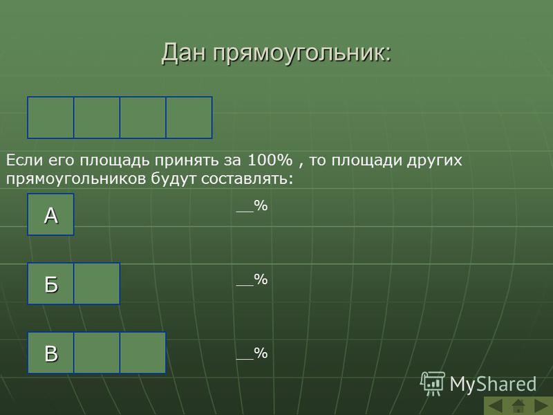 Дан прямоугольник: В Б А Если его площадь принять за 100%, то площади других прямоугольников будут составлять: __%