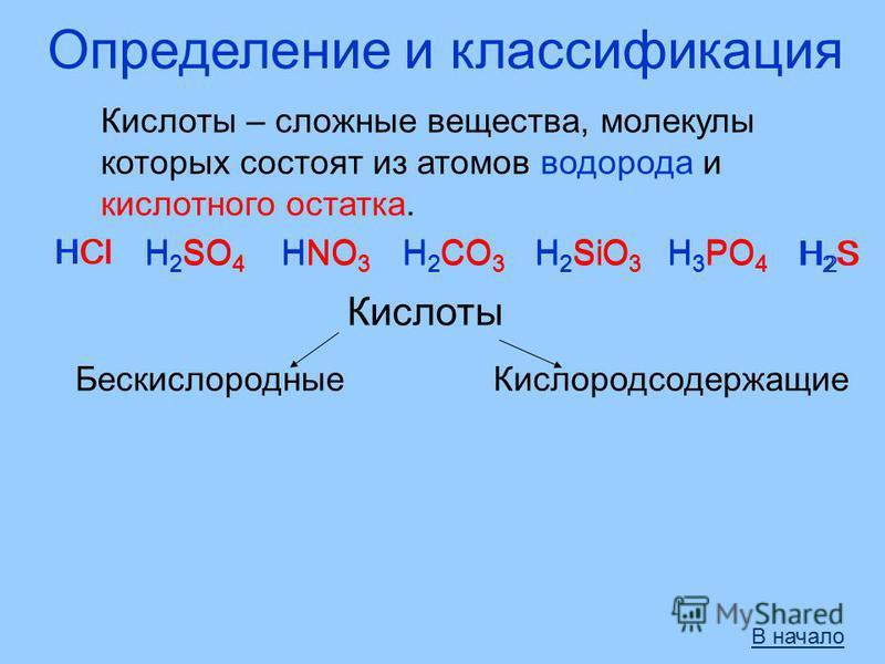 Определение и классификация Кислоты – сложные вещества, молекулы которых состоят из атомов водорода и кислотного остатка. HClH 2 SO 4 HNO 3 H 2 CO 3 H 2 SiO 3 H 3 PO 4 HCl H 2 SO 4 HNO 3 H 2 CO 3 H 2 SiO 3 H 3 PO 4 Кислоты Бескислородные H2SH2SH2SH2S