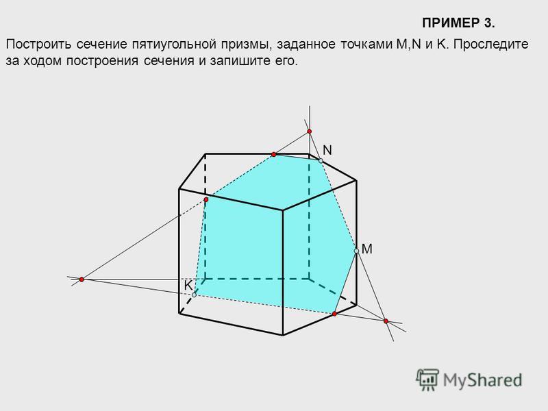 ПРИМЕР 3. Построить сечение пятиугольной призмы, заданное точками M,N и K. Проследите за ходом построения сечения и запишите его. M N K