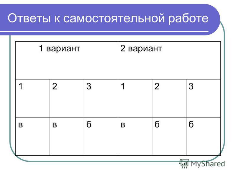 Ответы к самостоятельной работе 1 вариант 2 вариант 123123 ввбвбб