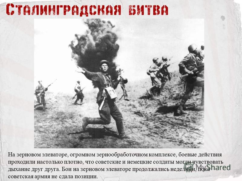 На зерновом элеваторе, огромном зернообработочном комплексе, боевые действия проходили настолько плотно, что советские и немецкие солдаты могли чувствовать дыхание друг друга. Бои на зерновом элеваторе продолжались неделями, пока советская армия не с