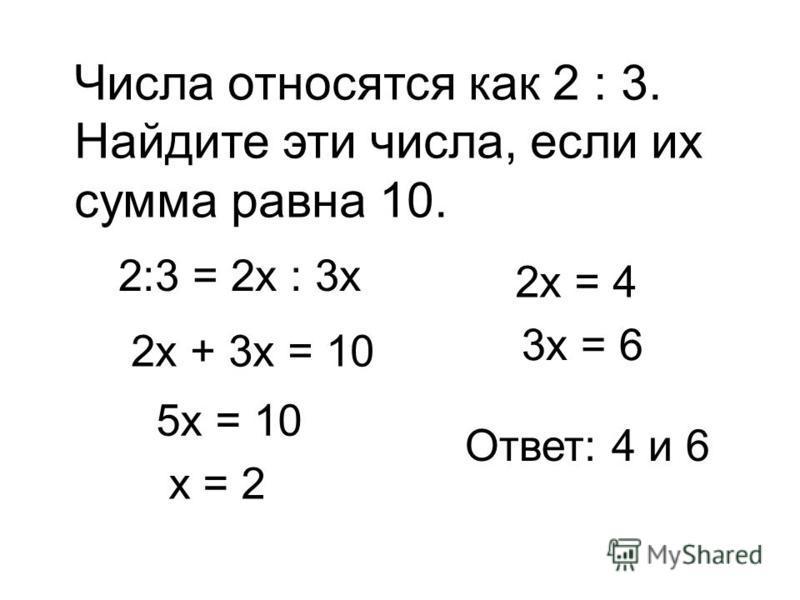 Числа относятся как 2 : 3. Найдите эти числа, если их сумма равна 10. 2:3 = 2 х : 3 х 2 х + 3 х = 10 5 х = 10 х = 2 2 х = 4 3 х = 6 Ответ: 4 и 6