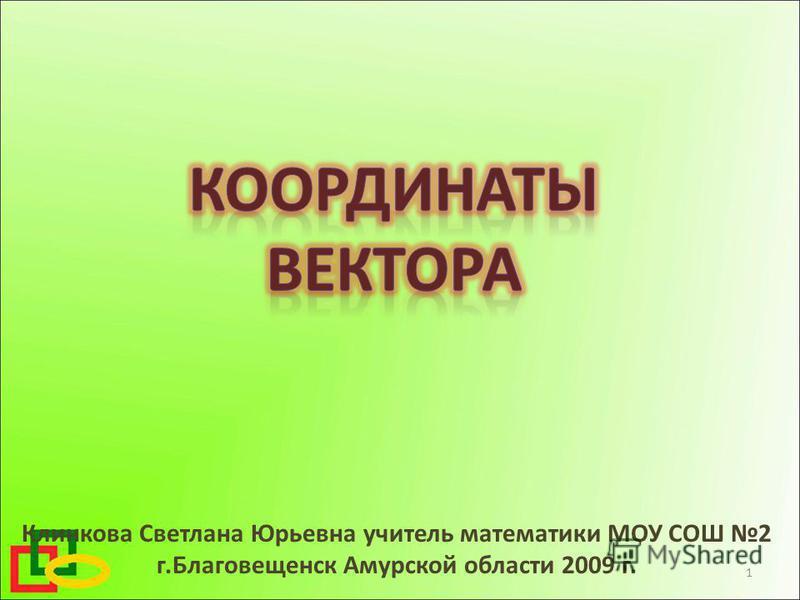 Клинкова Светлана Юрьевна учитель математики МОУ СОШ 2 г.Благовещенск Амурской области 2009 г. 1