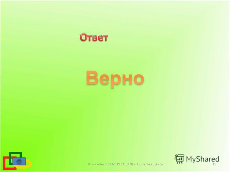Клинкова С.Ю.МОУ СОШ 2. Г.Благовещенск 19