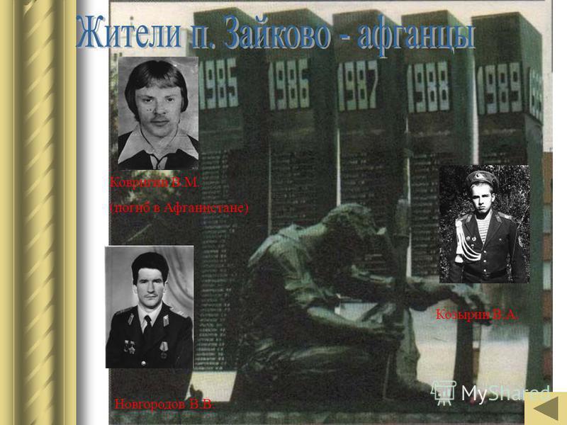 Ковригин В.М. (погиб в Афганистане) Новгородов В.В. Козырин В.А.