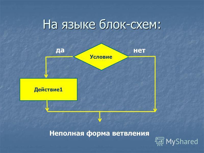На языке блок-схем: Действие 1 Условие Неполная форма ветвления нет да