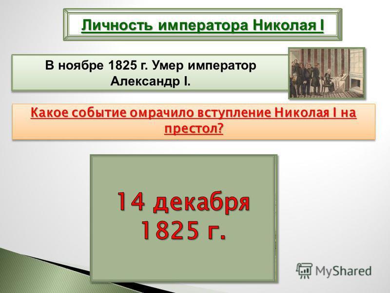 Личность императора Николая I В ноябре 1825 г. Умер император Александр I. Какое событие омрачило вступление Николая I на престол? Восстание на Сенатской площади