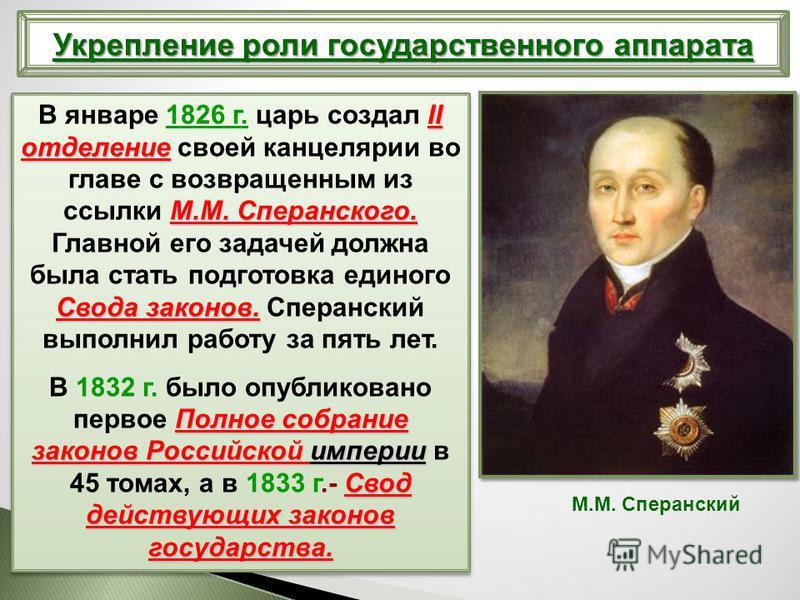 II отделение М.М. Сперанского. Свода законов. В январе 1826 г. царь создал II отделение своей канцелярии во главе с возвращенным из ссылки М.М. Сперанского. Главной его задачей должна была стать подготовка единого Свода законов. Сперанский выполнил р