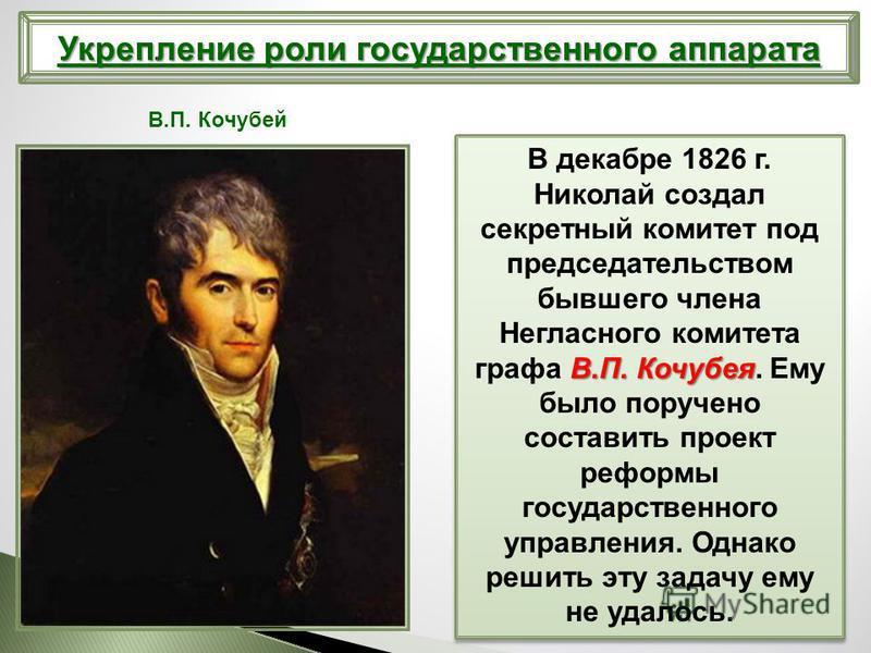 В.П. Кочубея В декабре 1826 г. Николай создал секретный комитет под председательством бывшего члена Негласного комитета графа В.П. Кочубея. Ему было поручено составить проект реформы государственного управления. Однако решить эту задачу ему не удалос