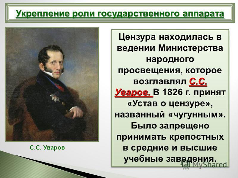 С.С. Уваров. Цензура находилась в ведении Министерства народного просвещения, которое возглавлял С.С. Уваров. В 1826 г. принят «Устав о цензуре», названный «чугунным». Было запрещено принимать крепостных в средние и высшие учебные заведения. С.С. Ува