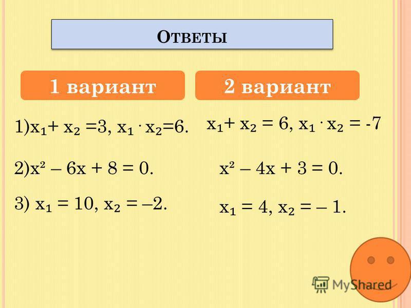 х² – 3 х + 6 = 0. 2. Составить квадратное уравнение по его корням: 1 вариант 2 вариант С АМОСТОЯТЕЛЬНАЯ РАБОТА 1. Найти сумму и произведение корней уравнения: 3. Найти подбором корни уравнения: х² – 6 х - 7 = 0. х = 2; х = 4. х = 1; х = 3. х² – 8 х –