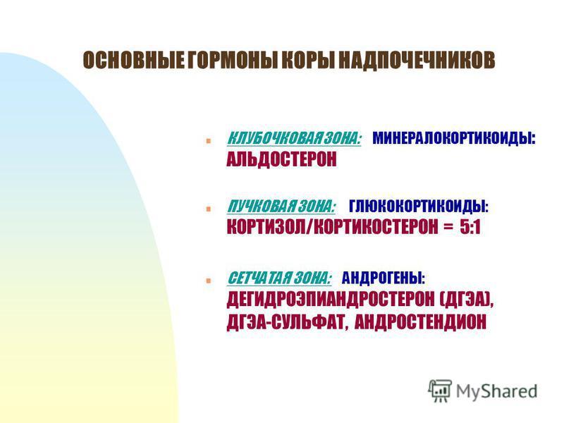 ОСНОВНЫЕ ГОРМОНЫ КОРЫ НАДПОЧЕЧНИКОВ n КЛУБОЧКОВАЯ ЗОНА: МИНЕРАЛОКОРТИКОИДЫ : АЛЬДОСТЕРОН n ПУЧКОВАЯ ЗОНА: ГЛЮКОКОРТИКОИДЫ: КОРТИЗОЛ/КОРТИКОСТЕРОН = 5:1 n СЕТЧАТАЯ ЗОНА: АНДРОГЕНЫ: ДЕГИДРОЭПИАНДРОСТЕРОН (ДГЭА), ДГЭА-СУЛЬФАТ, АНДРОСТЕНДИОН