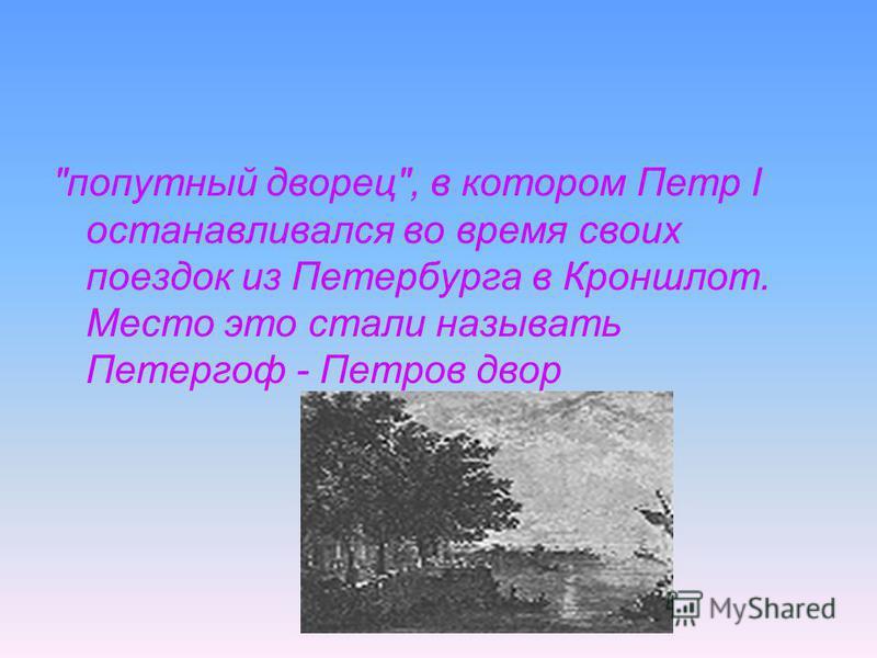попутный дворец, в котором Петр I останавливался во время своих поездок из Петербурга в Кроншлот. Место это стали называть Петергоф - Петров двор