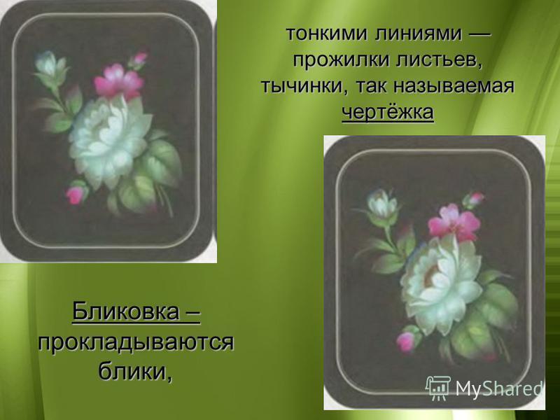 Бликовка – прокладываются блики, тонкими линиями прожилки листьев, тычинки, так называемая чертёжка