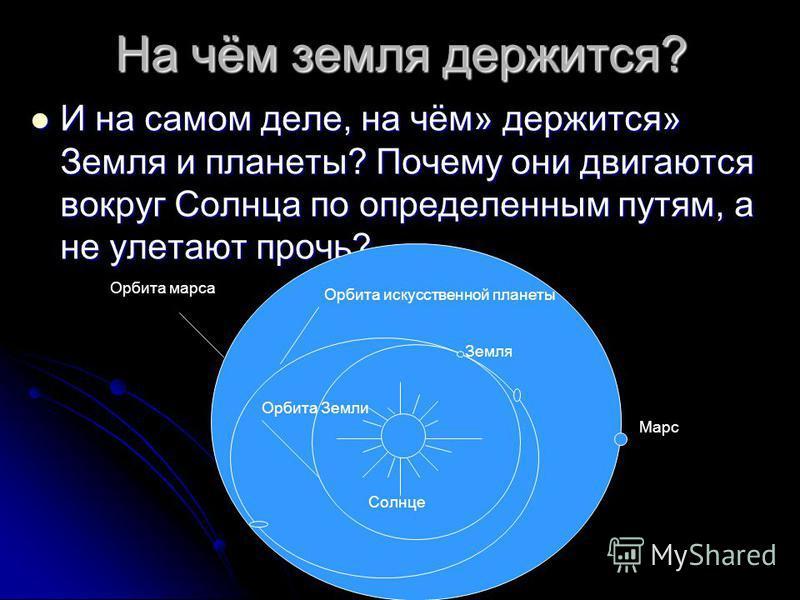 На чём земля держится? И на самом деле, на чём» держится» Земля и планеты? Почему они двигаются вокруг Солнца по определенным путям, а не улетают прочь? И на самом деле, на чём» держится» Земля и планеты? Почему они двигаются вокруг Солнца по определ