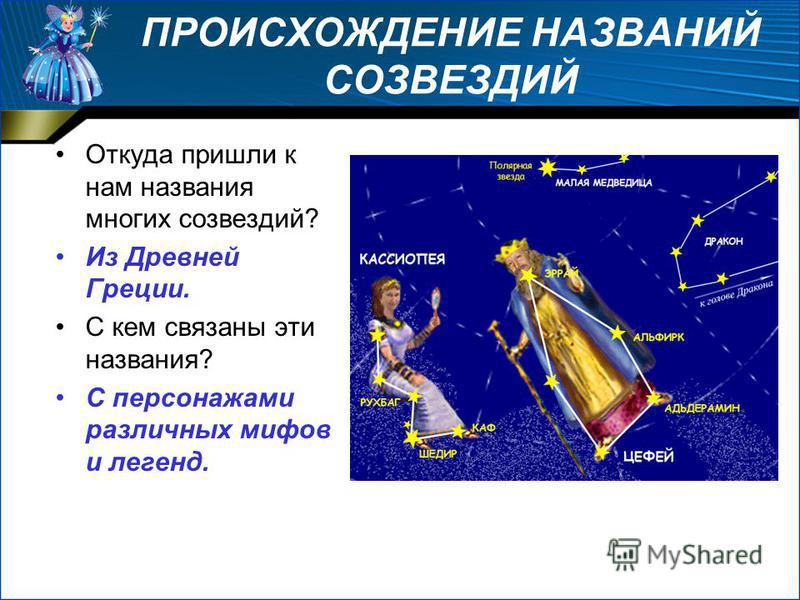 ПРОИСХОЖДЕНИЕ НАЗВАНИЙ СОЗВЕЗДИЙ Откуда пришли к нам названия многих созвездий? Из Древней Греции. С кем связаны эти названия? С персонажами различных мифов и легенд.