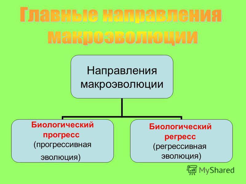 Направления макроэволюции Биологический прогресс (прогрессивная эволюция) Биологический регресс (регрессивная эволюция)