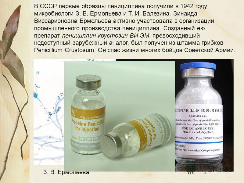 В СССР первые образцы пенициллина получили в 1942 году микробиологи З. В. Ермольева и Т. И. Балезина. Зинаида Виссарионовна Ермольева активно участвовала в организации промышленного производства пенициллина. Созданный ею препарат пенициллин-крустозин