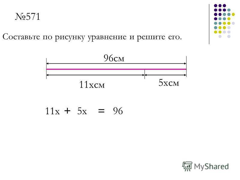 96 см 11 ксм 5 ксм 571 Составьте по рисунку уравнение и решите его. 11 х 5 х 96+ =