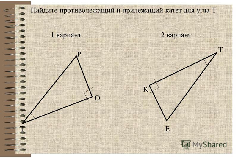 1 вариант 2 вариант Т Р О К Е Т Найдите противолежащий и прилежащий катет для угла Т