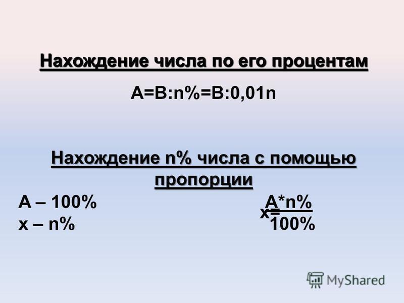 Нахождение числа по его процентам A=B:n%=B:0,01n Нахождение n% числа с помощью пропорции A – 100% A*n% x – n% 100% x=