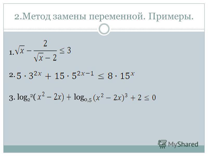 2. Метод замены переменной. Примеры. 1. 2. 3. log 2 2 ( log 0,5