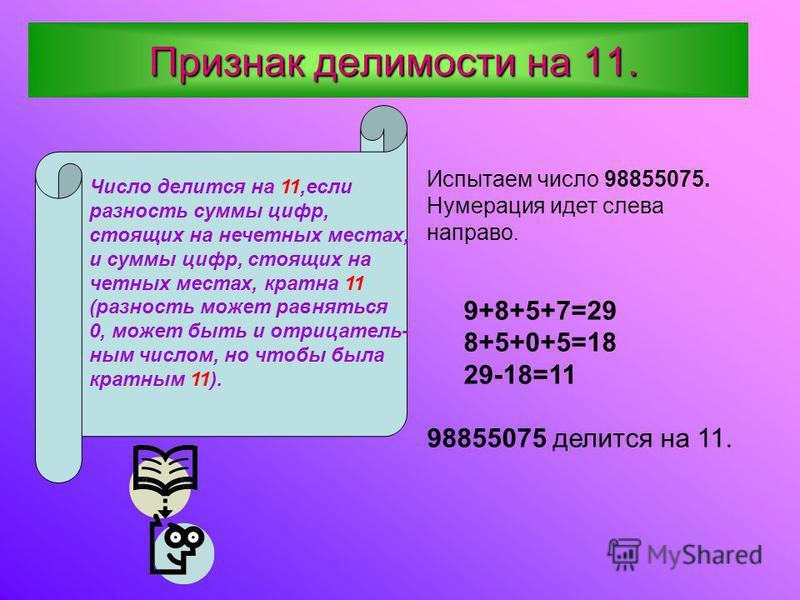 П ПП Признак делимости на 11. Число делится на 11,если разность суммы цифр, стоящих на нечетных местах, и суммы цифр, стоящих на четных местах, кратна 11 (разность может равняться 0, может быть и отрицательным числом, но чтобы была кратным 11). Испыт