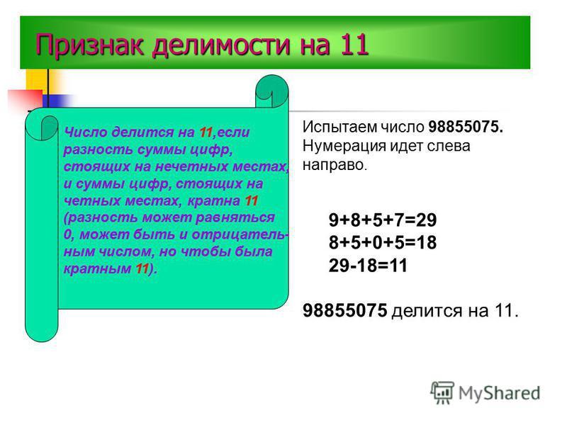 П ПП Признак делимости на 11 Число делится на 11,если разность суммы цифр, стоящих на нечетных местах, и суммы цифр, стоящих на четных местах, кратна 11 (разность может равняться 0, может быть и отрицательным числом, но чтобы была кратным 11). Испыта