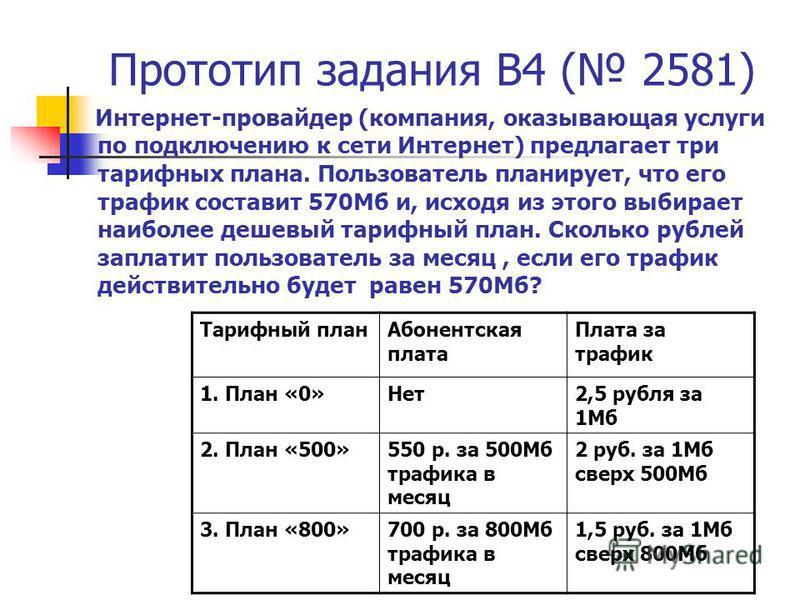 Прототип задания B4 ( 2581) Интернет-провайдер (компания, оказывающая услуги по подключению к сети Интернет) предлагает три тарифных плана. Пользователь планирует, что его трафик составит 570Мб и, исходя из этого выбирает наиболее дешевый тарифный пл