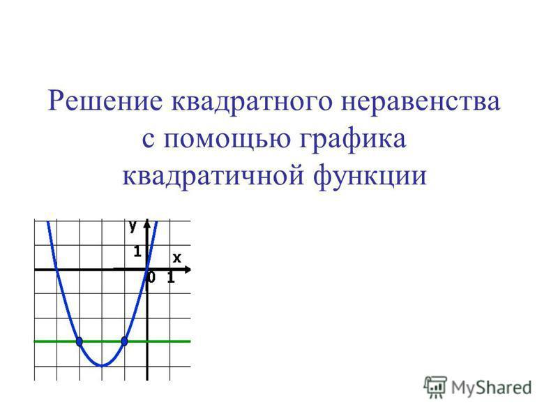 Решение квадратного неравенства с помощью графика квадратичной функции