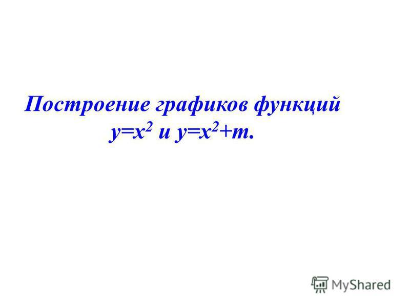 Построение графиков функций у=х 2 и у=х 2 +m.
