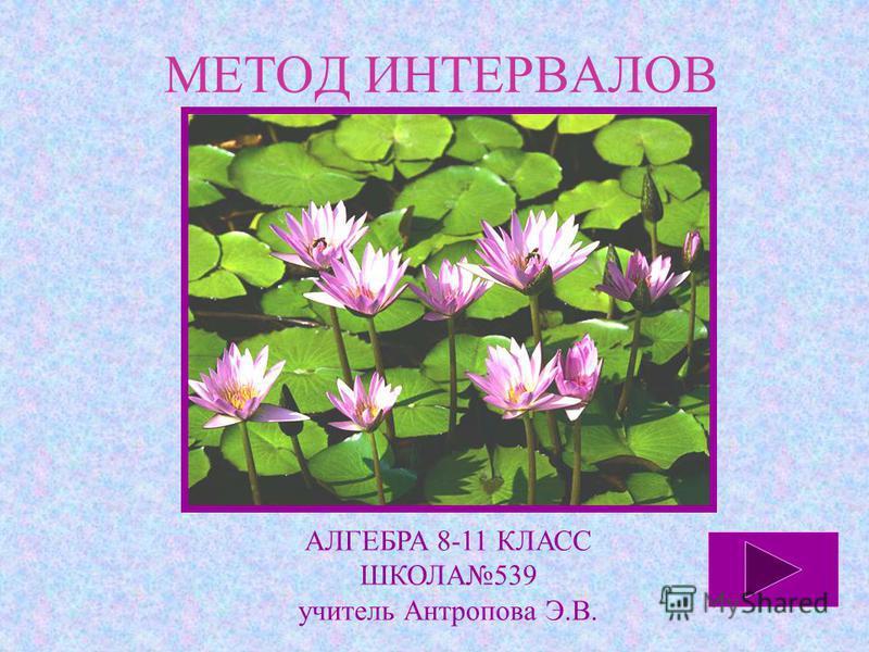 МЕТОД ИНТЕРВАЛОВ АЛГЕБРА 8-11 КЛАСС ШКОЛА539 учитель Антропова Э.В.