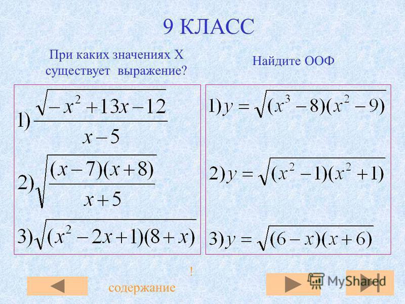 9 КЛАСС При каких значениях X существует выражение? Найдите ООФ !