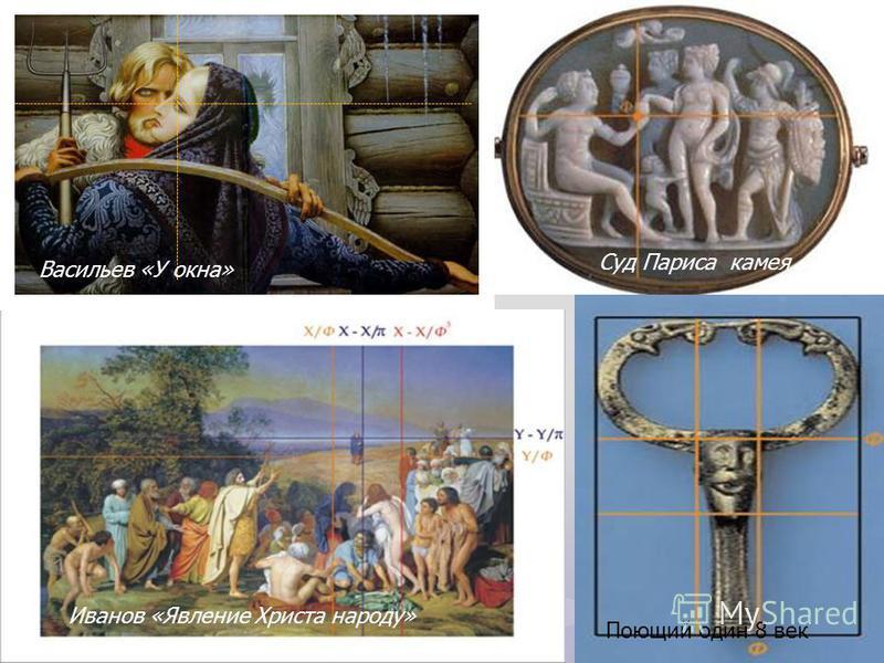Васильев «У окна» Суд Париса камея Иванов «Явление Христа народу» Поющий один 8 век