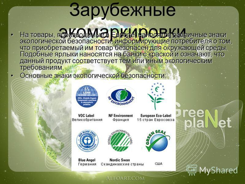 Зарубежные экомаркировки На товары, производимые в Европе, наносятся различные знаки экологической безопасности, информирующие потребителя о том, что приобретаемый им товар безопасен для окружающей среды. Подобные ярлыки наносятся на банки с краской