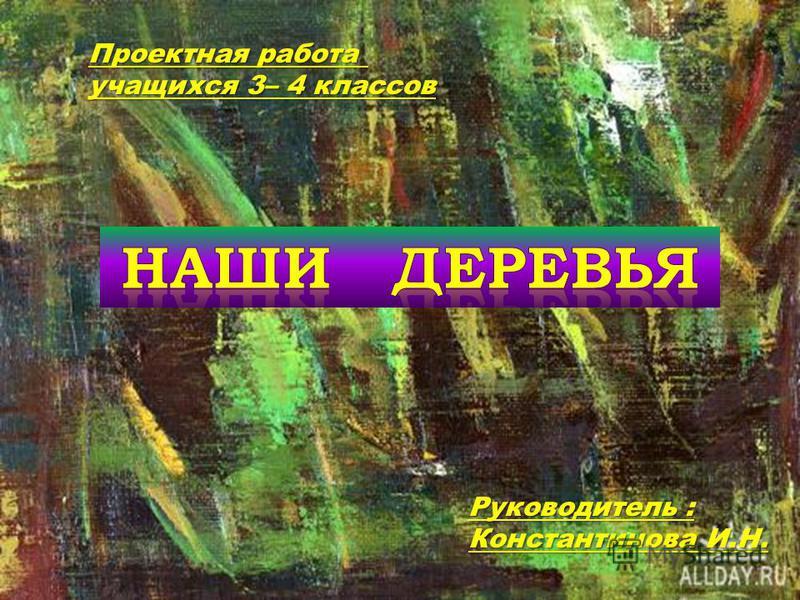Проектная работа учащихся 3– 4 классов Руководитель : Константинова И.Н.