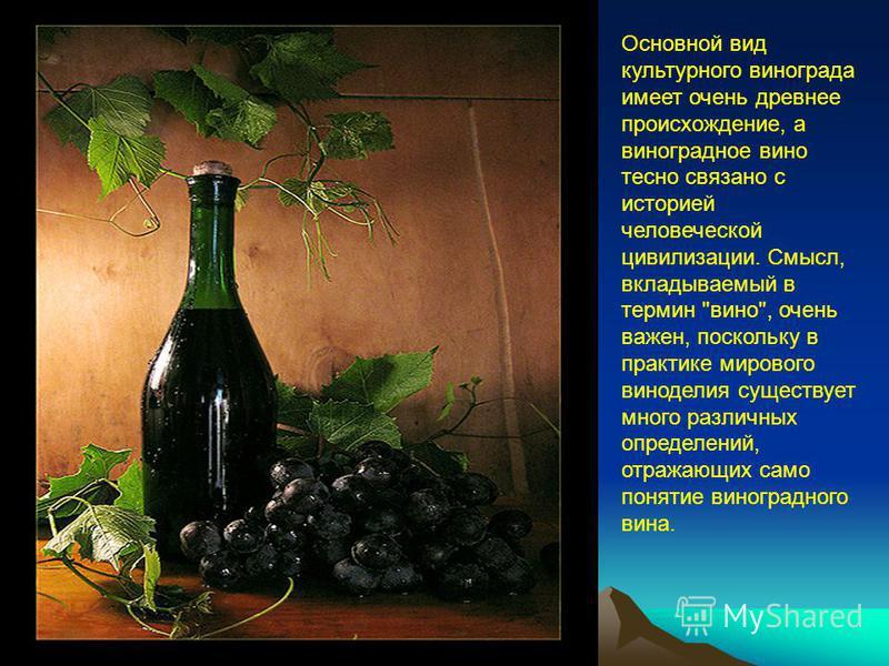Основной вид культурного винограда имеет очень древнее происхождение, а виноградное вино тесно связано с историей человеческой цивилизации. Смысл, вкладываемый в термин