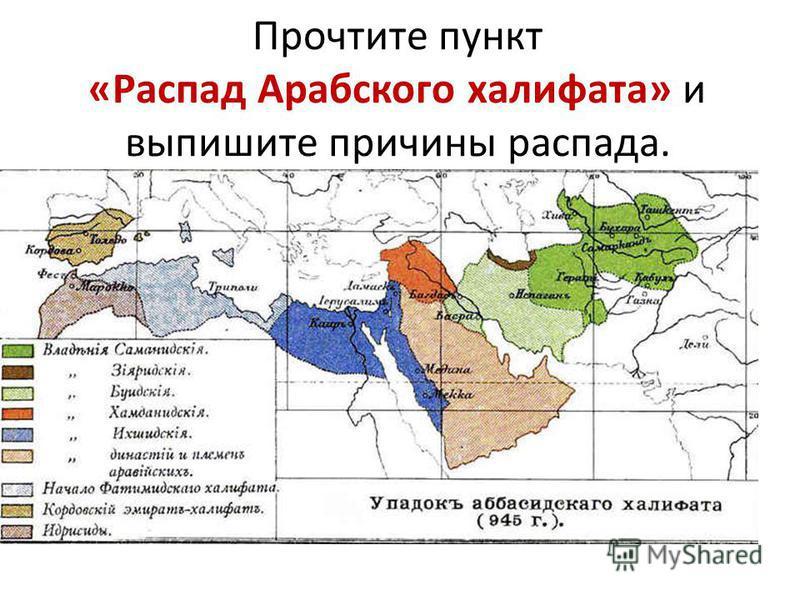 Прочтите пункт «Распад Арабского халифата» и выпишите причины распада.